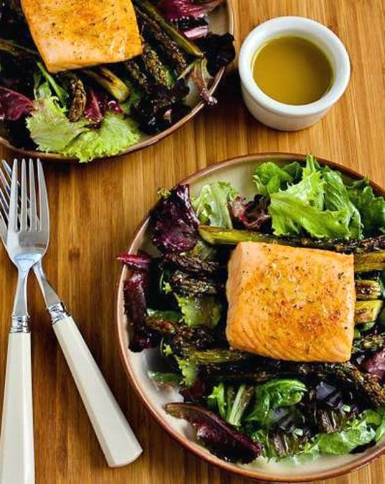 Roasted Salmon and Asparagus Salad with Mustard Vinaigrette (Sheet Pan Meal)