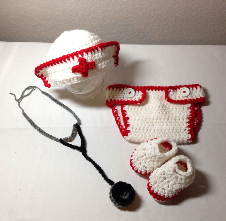 Crochet NB through 12 mos baby nurse outfit, stethoscope photography prop by CrochetbyDestinee on Etsy https://www.etsy.com/listing/169748526/crochet-nb-through-12-mos-baby-nurse