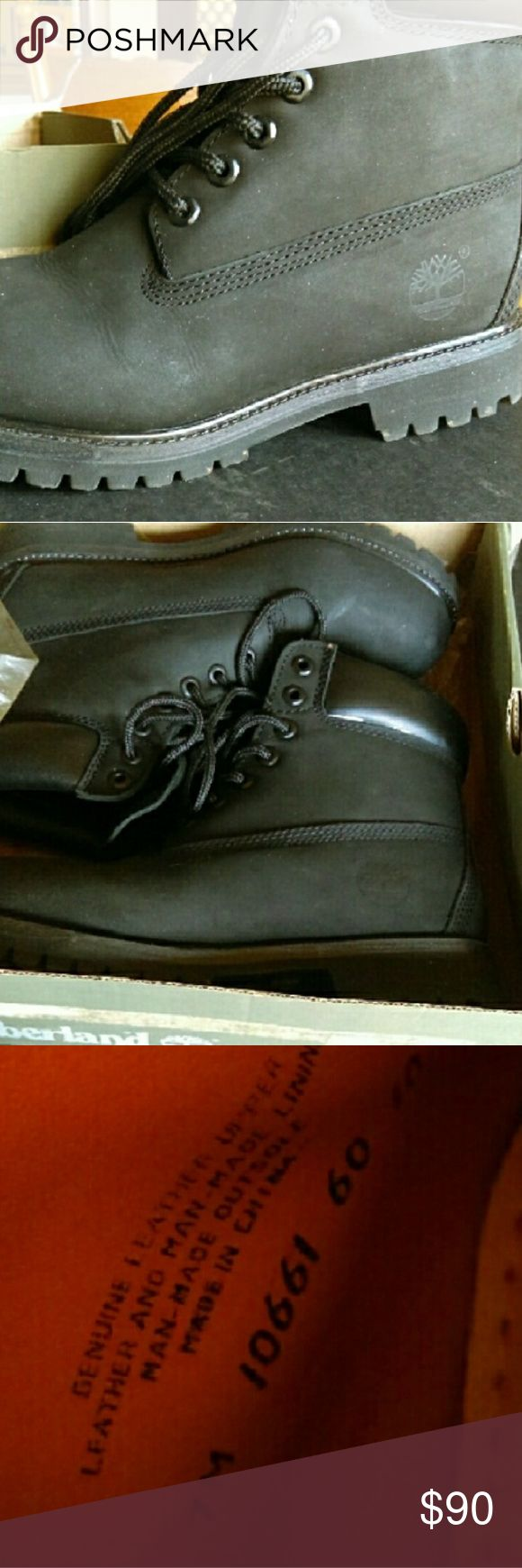 Black timberland boots Black timberland boots, size 7m. Fit size 8.5 women. Will clean before shipping Timberland Shoes Combat & Moto Boots