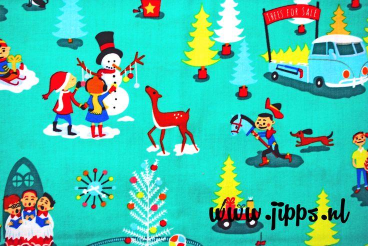 Kerststof 'Mid Century Christmas' van Michael Miller. Verkrijgbaar via www.jipps.nl