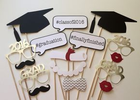 SALE TODAY ONLY 2016 Graduation Photo Booth Props . Graduation Photo Booth Props . Class of 2016 . Glitter and Metallic . Set of 16 by ThePropMarket on Etsy
