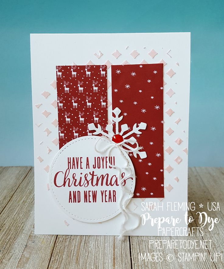 Stampin' Up! Be Merry paper, October 2017 Paper Pumpkin stamps, Trim Your Stocking thinlits, Stampin' Blends, embossing paste - Sarah Fleming - Prepare to Dye Papercrafts