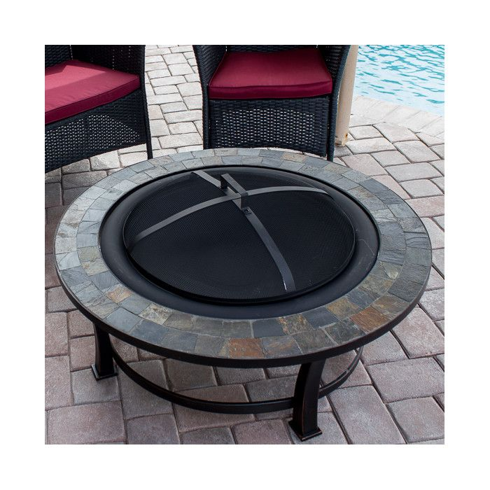 Features:  -Mesh screen.  -Wood grate.  Product Type: -Fire pit.  Finish: -Black.  Base Material: -Steel.  Pit Material: -Steel.  Hardware Material: -Steel.  Fuel Type: -Wood. Dimensions:  Overall Hei