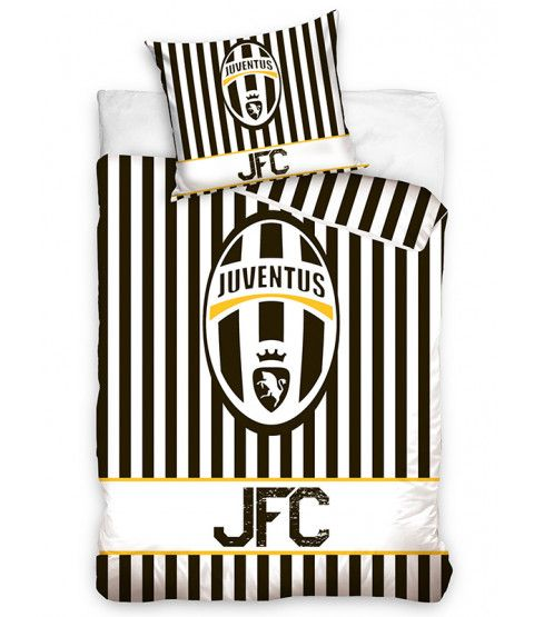This Juventus FC Stripe Single Cotton Duvet Cover Set features the iconic club crest and colours. Free UK delivery available.