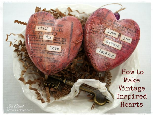 How to make Vintage Inspired Hearts – Sue's Creative Workshop #diy #valentinesday #heart