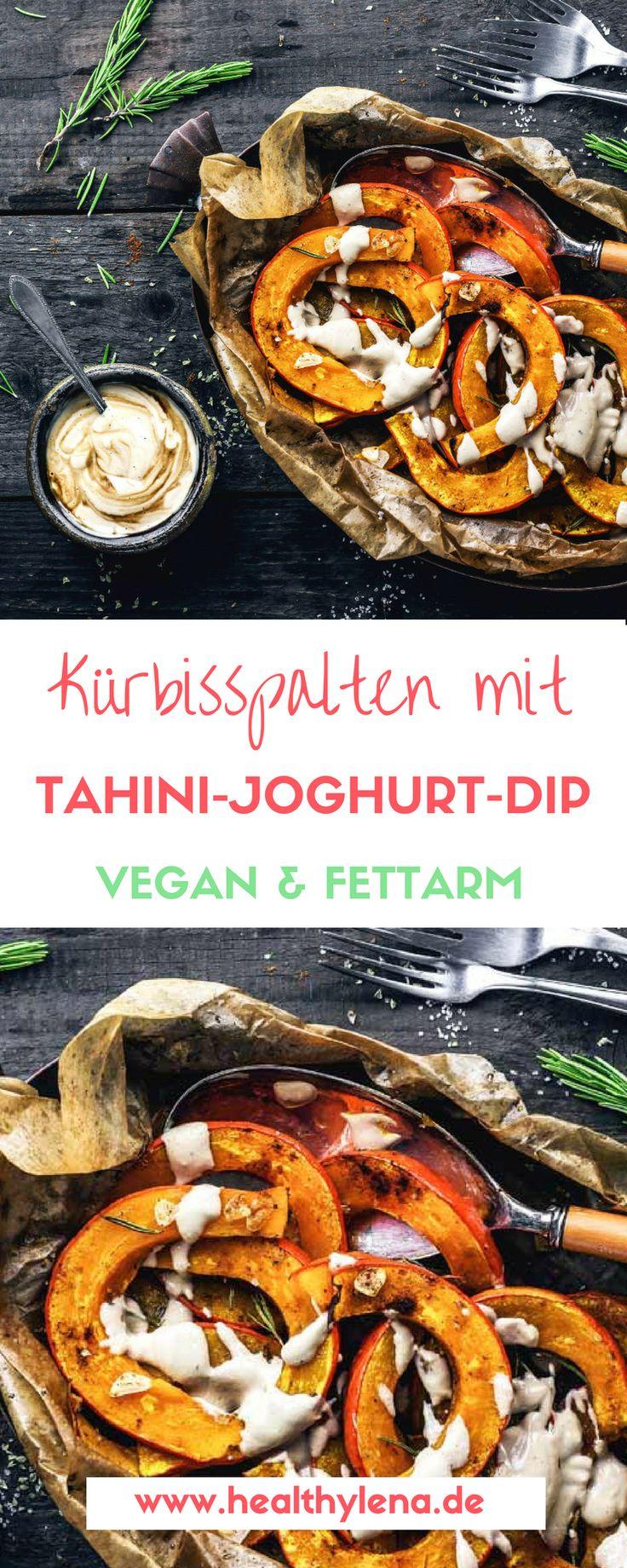 So langsam lässt er sich blicken, der Herbst. Doch das ist kein Grund zur Traurigkeit, denn kulinarisch hat der Herbst einiges zu bieten. Heute möchte ich mein liebstes Kürbis-Rezept mit euch teilen: würzige Kürbisspalten aus dem Ofen mit Tahini Joghurt Dip – vegan, glutenfrei, fettarm und nach Wunsch auch sojafrei. Perfekt also, um so gut wie jeden Geschmack zu treffen!