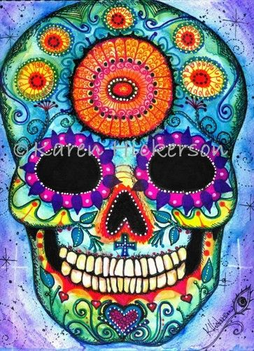 Karen Hickerson Day of the Dead Sugar Skull Folk Art Abstract Print Painting