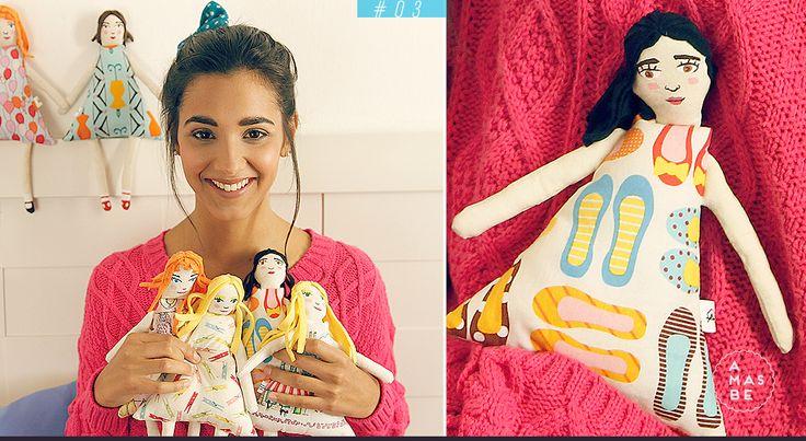 Catalogo AMASBE INVIERNO 2015 +muñecas con cara pintada a mano y tela estampada +