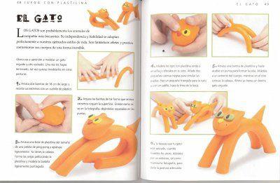 Modelar plastilina - gato