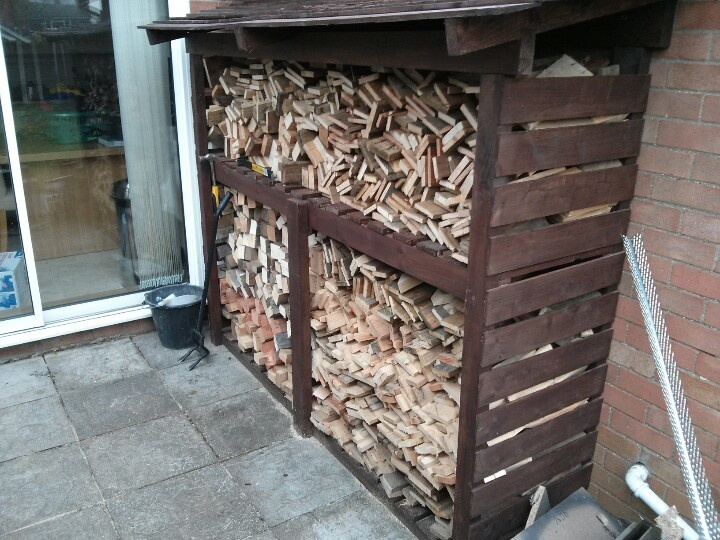 log store made from recycled pallets. Full of pallet wood for burning.