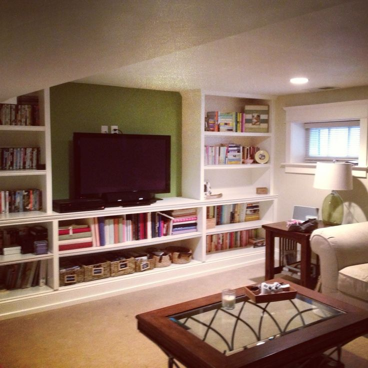 Recreation Room Design Ideas: Basement. Rec Room. Tv Room. Built In Shelves.