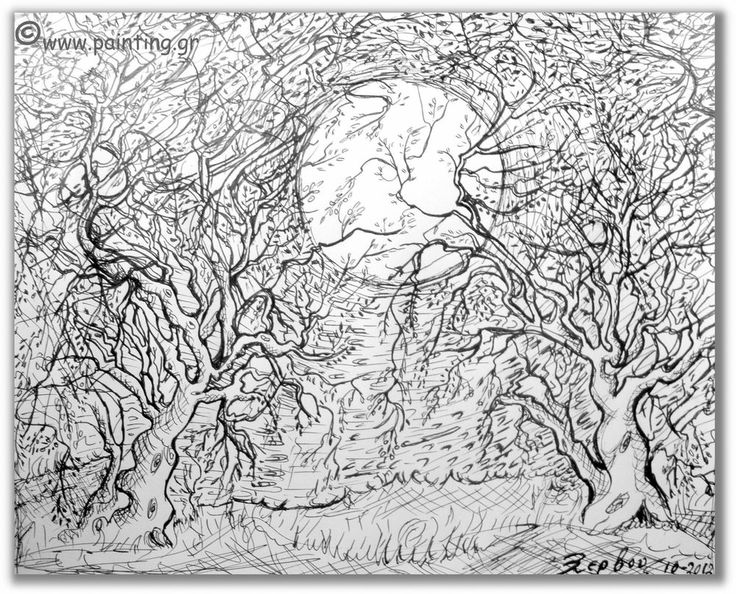 Signed, Drawing, Olive trees, ink on paper, Original, by Xanthie Zervou.