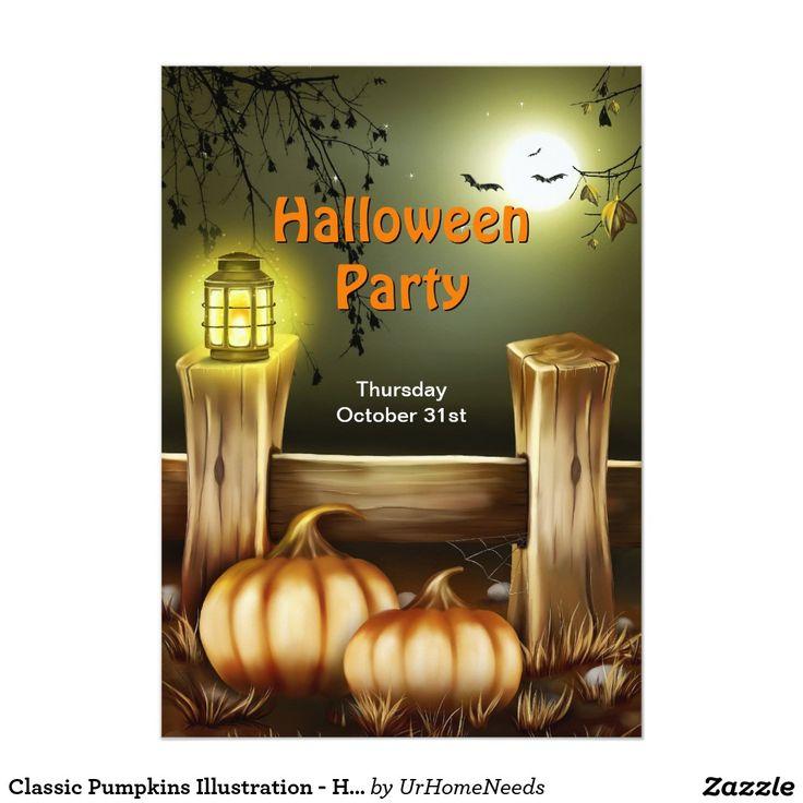 96 best halloween chic invitations images on pinterest halloween classic pumpkins illustration halloween party 5x7 paper invitation card stopboris Images