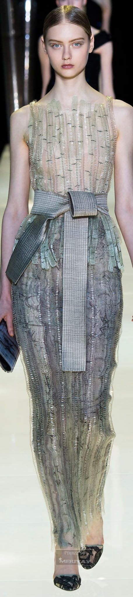 Armani Privé.~ Couture Sleeveless Sequin Sheer Maxi Dress, Spring 2015