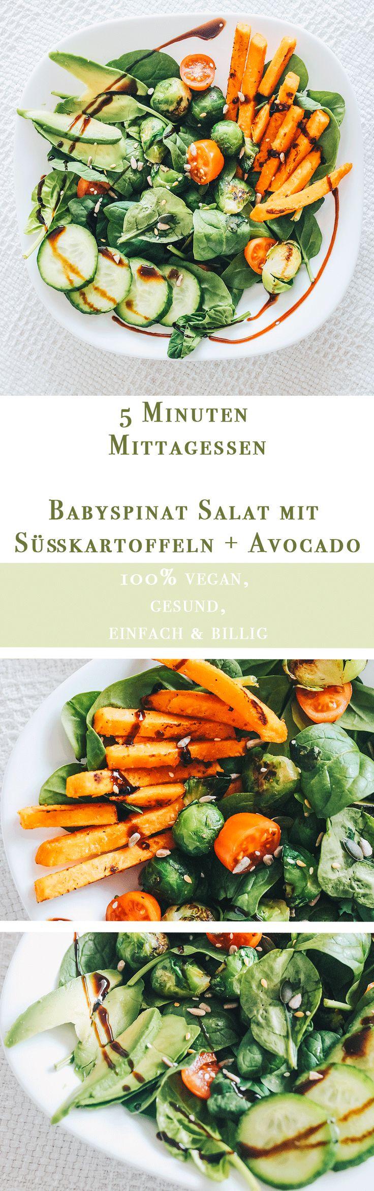 Vanillaholica | Babyspinat Salat mit Süßkartoffel, Avocado und Kohlsprossen | http://www.vanillaholica.com . Du willst in knapp 10 Minuten ein einfaches veganes Rezept für ein schnelles Mittagessen, dass gesund und einfach ist. Mit diesem Salat Rezept hast Du dass richtige gefunden. Mit Süßkartoffel Pommes, Avocado Stücken, Babyspinat und vielen gesunden, veganen Rohstoffen bietet dieses Mittagessen dir viel Energie für den Tag.