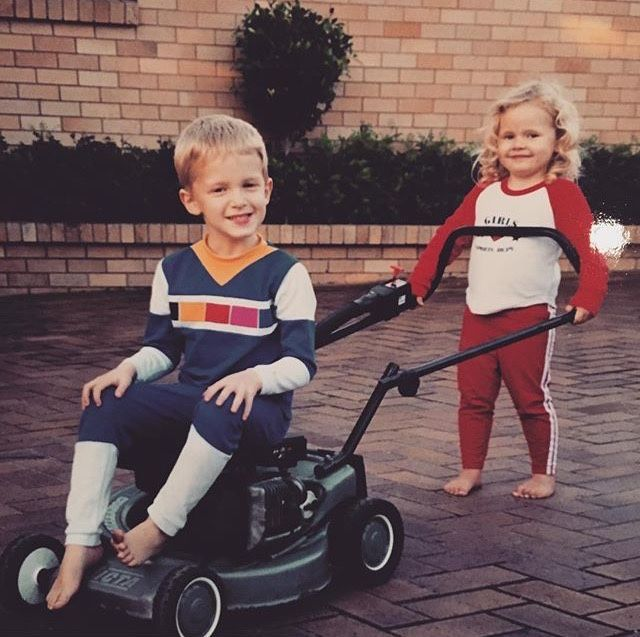 king Cody being pushed around by little sausage - oh the good old days ahaha  x - alli simpson via insta