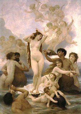 La Naissance de Vénus (Bouguereau). La double origine d'Aphrodite inspira à Socrate (à travers la plume de Platon, dans le Banquet) l'idée qu'il y eût deux Aphrodite, l'Aphrodite Ouranienne, fille du ciel et déesse de l'amour pur, et l'Aphrodite Pandemos, déesse du peuple, celle qui inspire le désir.