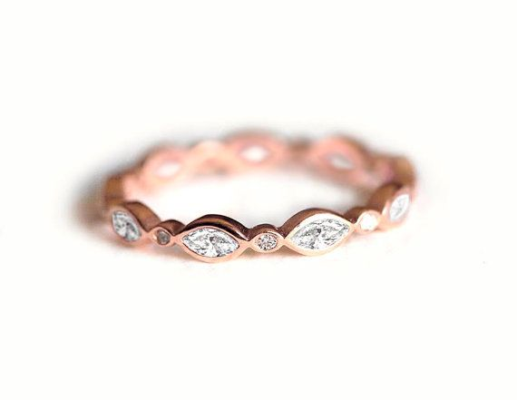 Full Eternity Diamond band. Vintage style wedding band which can be used also as a stacking ring with your other rings. It is designed for those who