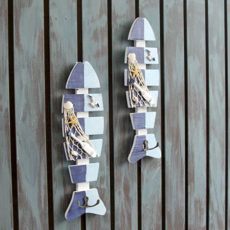 Mediterranean Style Fish Retro Old Wooden Wall Fishbone Peg Decorative Hook