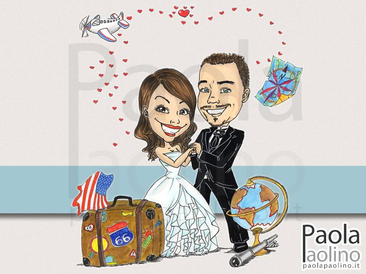 Una #caricatura #sposi in #viaggio con tutti gli elementi necessari: #valigia, #mappamondo, #cartina, #monocolo, #aereo e... una percorso di cuori a stabilire la #rotta preferita!  Un #caricatura molto adatta agli sposi #viaggiatori.  #caricaturista #matrimoni #eventi