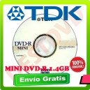 10 mini dvd´s virgen TDK 4X 1.4GB / 30min.