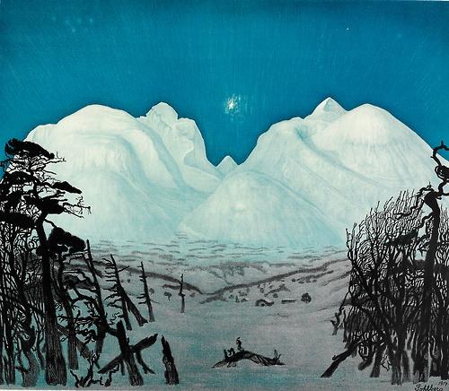 Harald Sohlberg (Norwegian, 1869-1935), Vinternatt i Rondane [Winter night in Rondane], 1917. Colour lithograph, 67 x 73 cm. via