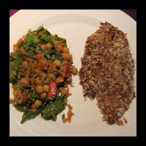 Chickpea, quinoa and roasted yam salad & pinko crusted miso talapia