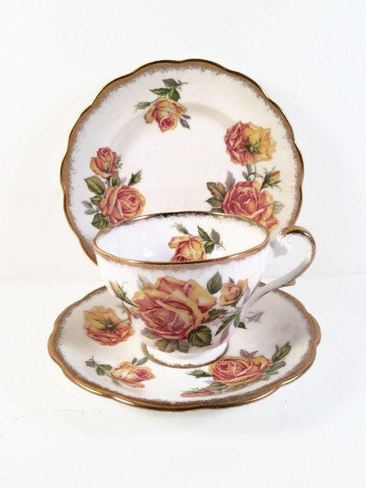 Royal Standard Fine Bone China Yellow Romany Rose Teacup Set - Teacup Saucer and Plate - Made in England https://www.etsy.com/listing/455037364/royal-standard-fine-bone-china-yellow?utm_campaign=crowdfire&utm_content=crowdfire&utm_medium=social&utm_source=pinterest