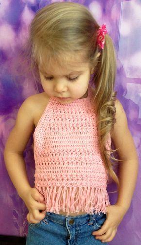 Conjunto de tres crochet niño tapa del halter top rojo rosa