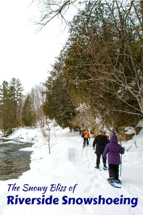 Snowshoeing in Haliburton Ontario Canada.