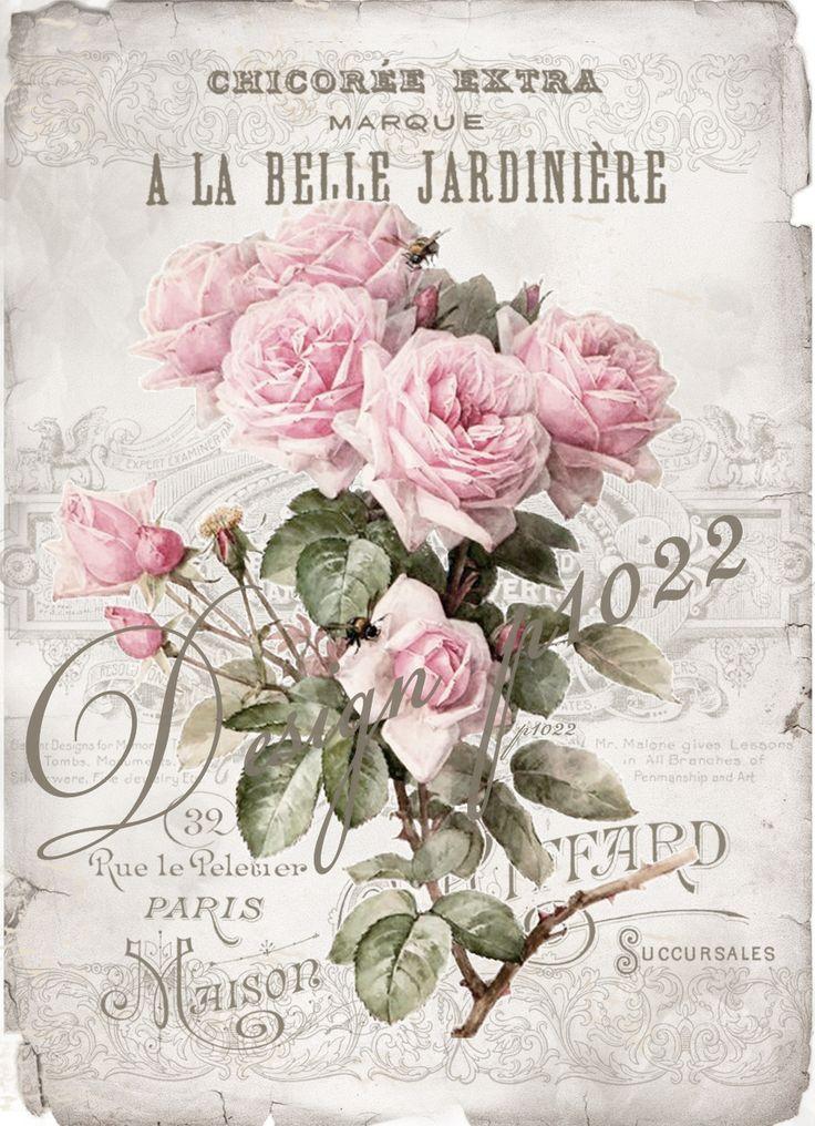 La Belle vintage roses digital collage