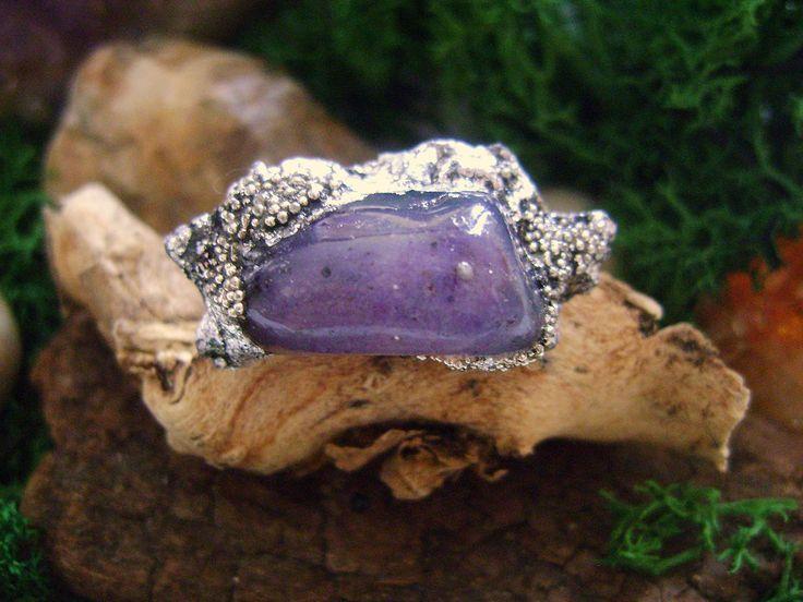 Amethyst ring, Ring Raw Crystal Ring,bohemian Ring, amethyst crystal ring,boho ring,Gothic ring, silver foil,gemstone ring, di 8PolymerClay8 su Etsy