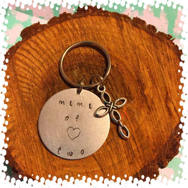 Mimi of Two, Grandmother Jewelry, Grandma Keychain, Mimi, Grandmother, Pregnancy Announcement, Gift from Grandchild, Gift from Grandchildren by 5StonesDesigns on Etsy https://www.etsy.com/listing/545371307/mimi-of-two-grandmother-jewelry-grandma
