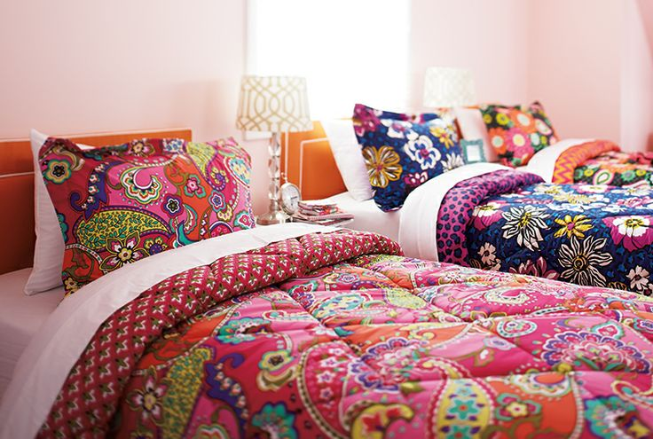Vera Bradley Fall 2014:  Reversible Comforter Set Twin/Twin XL in Pink Swirls, African Violet and Ziggy Zinnia. #BrightestYearEver