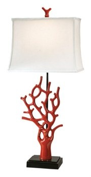 """Table Accent Lamps Item #12363 Each lamp features a vibrant red coral design & white linen rectangle shade Each uses (1) 100w bulb (not included) Black lead cord, 3-way switch UL approved Material(s): Polyresin Dimensions: 30.5""""H Shade Dimensions: 12.75""""L x 13.5""""W x 10""""H  Pack includes 2 of the lamp shown  Item ID: DCBK 12363"""