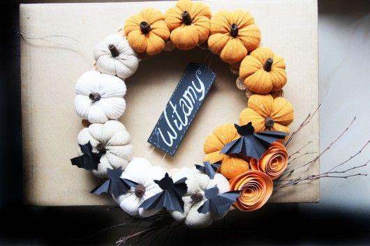dodatki - dekoracje - wianki-Wianek z dyniami na Halloween!