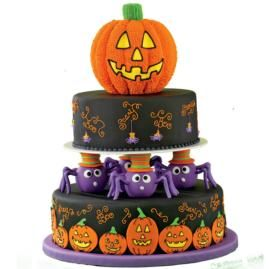 pumpkins and spiders and webs oh my these cakes have just about everything you love about halloween on them two tier stacked cake - Halloween Decorations Cakes