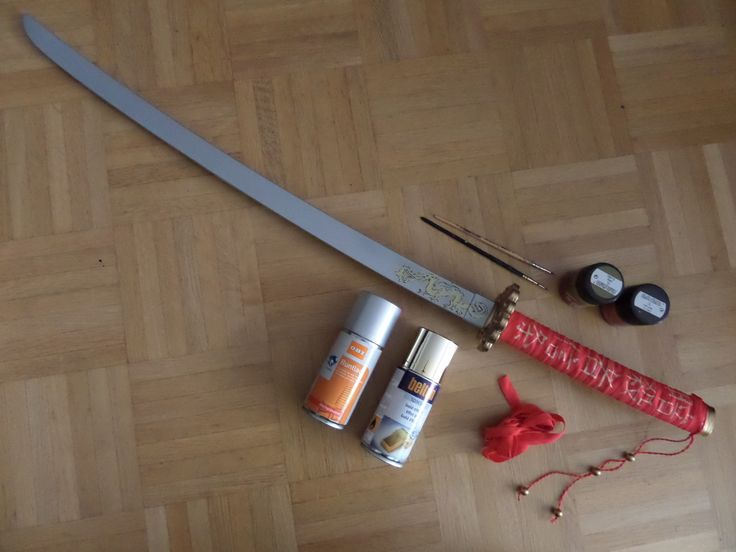 Finished sword + the paint and ribbon that were used