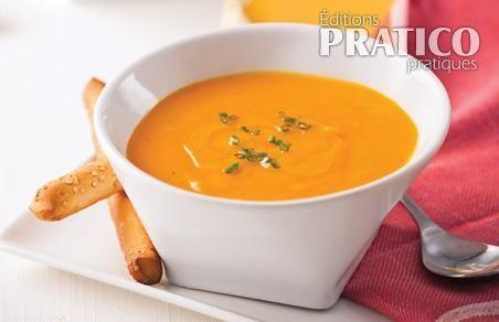 Crème de carottes, patates douces et gingembre - Recettes - Cuisine et nutrition - Pratico Pratique                                                                                                                                                                                 Plus