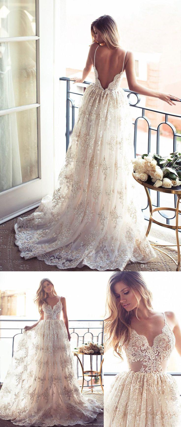 Best 25 spaghetti strap wedding dress ideas on pinterest for Sexy summer wedding dress