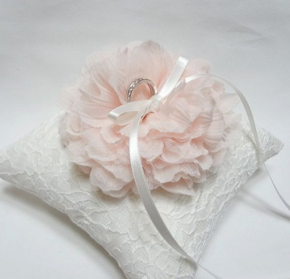 Wedding ring pillow light pink bloom on white lace ring by mirino, $35.00