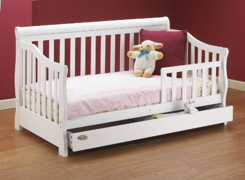 Sophisticated Solid Wood Toddler Bed With Storage Drawer White 54