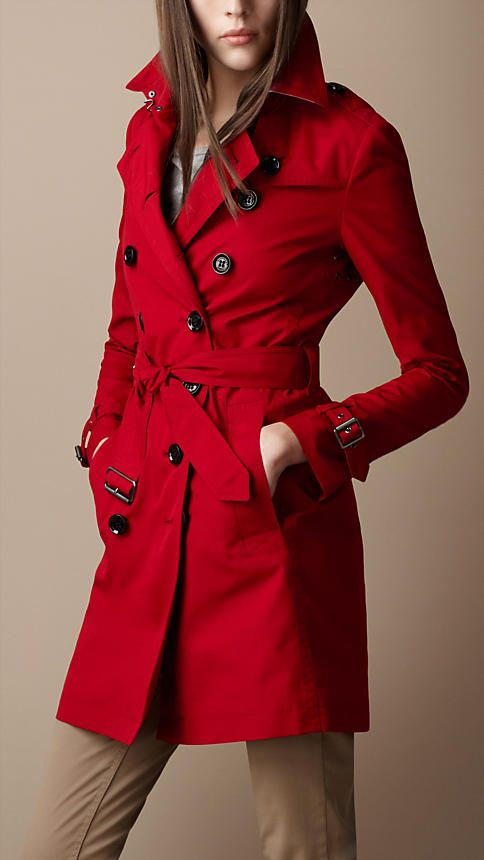 Burberry - MID-LENGTH COTTON BLEND TRENCH COAT> classic, love the color, alas never my size