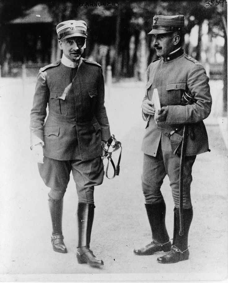 Gabriele D'Annunzio, full-length portrait, standing, facing slightly right, with another officer 1915