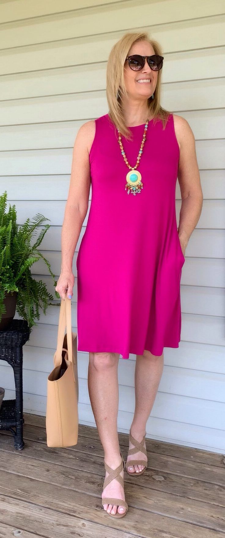 Pink Tank Dress For Comfort Style Styling On Purpose Dresses To Hide Tummy Sleeveless Knit Dress Forties Fashion [ 1754 x 736 Pixel ]