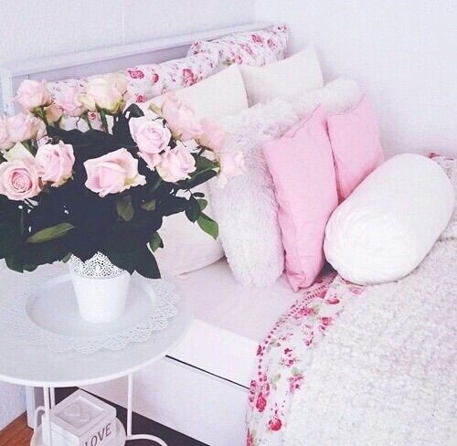 Image via We Heart It #bed #flowers #girl #girly #green #home #house #like #pink #room #want #white #cute #love