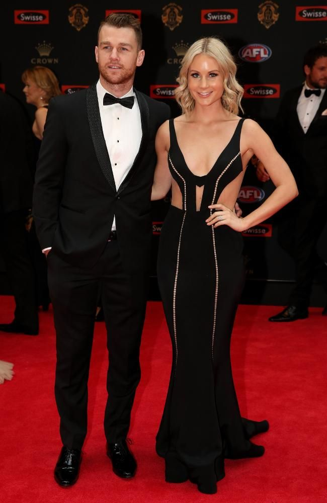 Robbie Gray of Port Adelaide and Annabel Whiting arrive at the 2016 Brownlow Medal Count.