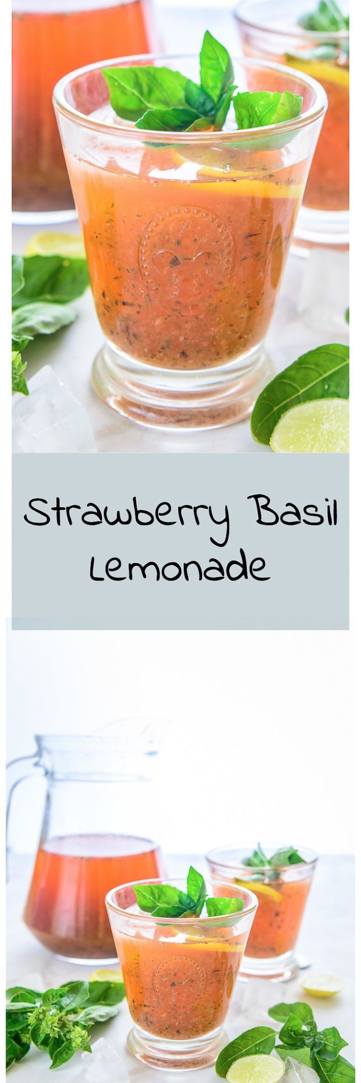 Strawberry Basil Lemonade incorporates the tangyness of lemon with a dash of sweetness of fresh strawberries, basil and heaps of crushed ice. #Drink #Beverage #Strawberry #Basil #Lemon #Summer #Cooler #Recipe