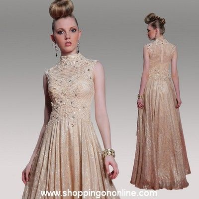 Long Prom Dress - Silk High Collar $223.20 (was $279) Click here to see more details http://shoppingononline.com/prom-dresses/long-prom-dress-silk-high-collar.html #LongPromDress #SilkPromDress #LongDress #HighCollar #PromDresses