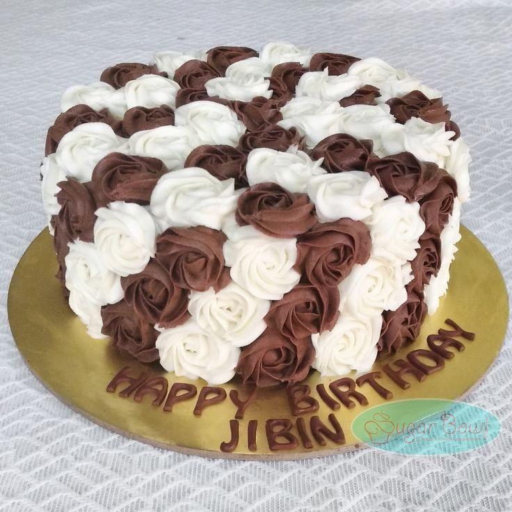 Chocolate and vanilla buttercream rosettes